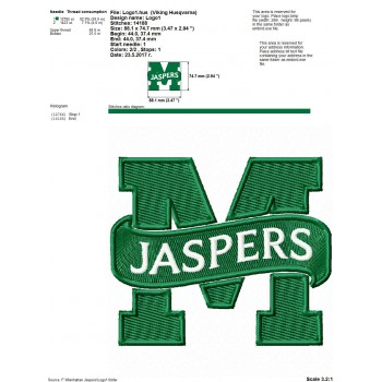 Manhattan Jaspers logos machine embroidery design for instant download